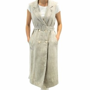 NWT THEKORNER Sleeveless Linen Belted Trench Coat